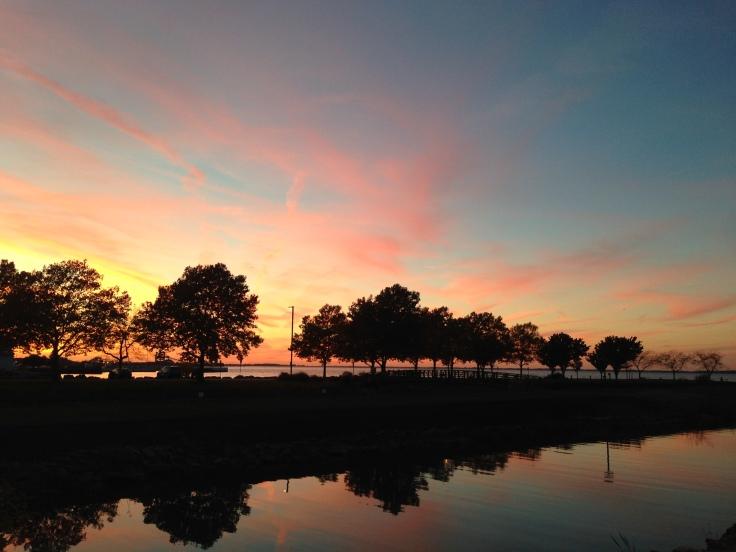 An early fall sunset at Shoreline Park in Sandusky, Ohio